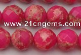 CDE2114 15.5 inches 14mm faceted round dyed sea sediment jasper beads