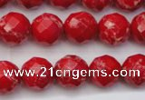 CDE2122 15.5 inches 10mm faceted round dyed sea sediment jasper beads