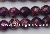 CDE2143 15.5 inches 12mm faceted round dyed sea sediment jasper beads