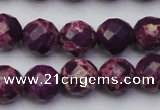 CDE2144 15.5 inches 14mm faceted round dyed sea sediment jasper beads