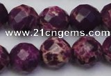 CDE2147 15.5 inches 20mm faceted round dyed sea sediment jasper beads