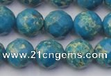 CDE2165 15.5 inches 16mm faceted round dyed sea sediment jasper beads