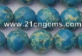 CDE2166 15.5 inches 18mm faceted round dyed sea sediment jasper beads
