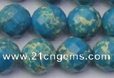 CDE2167 15.5 inches 20mm faceted round dyed sea sediment jasper beads