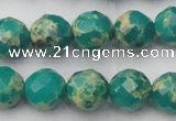 CDE2174 15.5 inches 14mm faceted round dyed sea sediment jasper beads