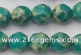 CDE2175 15.5 inches 16mm faceted round dyed sea sediment jasper beads