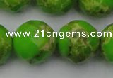 CDE2189 15.5 inches 24mm faceted round dyed sea sediment jasper beads