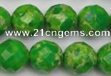 CDE2196 15.5 inches 18mm faceted round dyed sea sediment jasper beads
