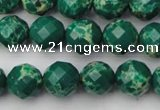 CDE2201 15.5 inches 8mm faceted round dyed sea sediment jasper beads