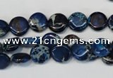 CDE230 15.5 inches 10mm flat round dyed sea sediment jasper beads