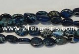 CDE233 15.5 inches 6*8mm oval dyed sea sediment jasper beads