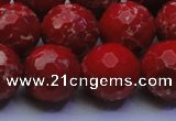 CDE2516 15.5 inches 18mm faceted round dyed sea sediment jasper beads