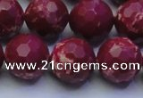 CDE2522 15.5 inches 16mm faceted round dyed sea sediment jasper beads