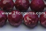 CDE2523 15.5 inches 18mm faceted round dyed sea sediment jasper beads
