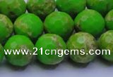 CDE2556 15.5 inches 14mm faceted round dyed sea sediment jasper beads