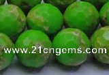 CDE2559 15.5 inches 20mm faceted round dyed sea sediment jasper beads