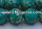 CDE2567 15.5 inches 20mm faceted round dyed sea sediment jasper beads