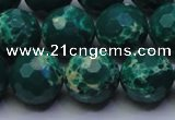CDE2571 15.5 inches 14mm faceted round dyed sea sediment jasper beads