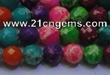 CDE2696 8mm faceted round mixed color sea sediment jasper beads