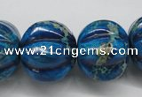 CDE297 15.5 inches 19*23mm pumpkin dyed sea sediment jasper beads