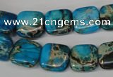 CDE300 15.5 inches 14*14mm square dyed sea sediment jasper beads