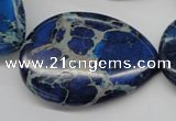 CDE327 15.5 inches 30*40mm flat teardrop dyed sea sediment jasper beads