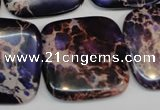 CDE430 15.5 inches 30*30mm square dyed sea sediment jasper beads