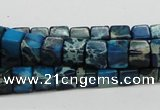 CDE52 15.5 inches 6*6mm cube dyed sea sediment jasper beads wholesale