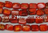 CDE551 15.5 inches 8*10mm rectangle dyed sea sediment jasper beads