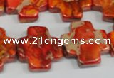 CDE563 15.5 inches 20*20mm cross dyed sea sediment jasper beads