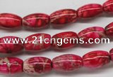 CDE605 15.5 inches 8*12mm rice dyed sea sediment jasper beads