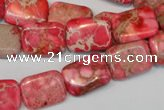 CDE631 15.5 inches 12*16mm rectangle dyed sea sediment jasper beads