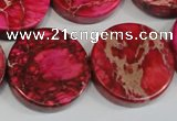 CDE665 15.5 inches 25mm coin dyed sea sediment jasper beads