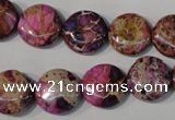 CDE706 15.5 inches 14mm flat round dyed sea sediment jasper beads