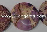 CDE708 15.5 inches 35mm flat round dyed sea sediment jasper beads