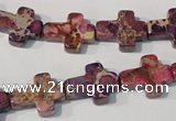 CDE722 15.5 inches 12*16mm cross dyed sea sediment jasper beads
