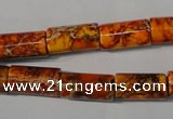 CDE738 15.5 inches 8*16mm tube dyed sea sediment jasper beads