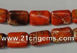 CDE756 15.5 inches 10*14mm rectangle dyed sea sediment jasper beads
