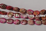 CDE781 15.5 inches 6*8mm oval dyed sea sediment jasper beads