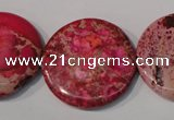 CDE788 15.5 inches 30mm flat round dyed sea sediment jasper beads