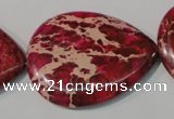 CDE790 15.5 inches 30*40mm flat teardrop dyed sea sediment jasper beads
