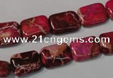 CDE796 15.5 inches 10*14mm rectangle dyed sea sediment jasper beads
