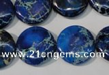 CDE908 15.5 inches 20mm flat round dyed sea sediment jasper beads