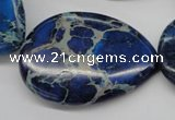 CDI327 15.5 inches 30*40mm flat teardrop dyed imperial jasper beads