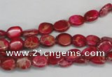 CDI641 15.5 inches 6*8mm oval dyed imperial jasper beads