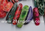 CDI987 15.5 inches 8*22mm - 10*38mm dyed imperial jasper chips beads