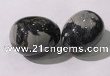 CDN1394 35*45mm egg-shaped silver leaf jasper decorations wholesale