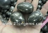 CDN30 28*38mm egg-shaped pyrite gemstone decorations wholesale