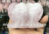 CDN594 50*75mm double heart rose quartz decorations wholesale