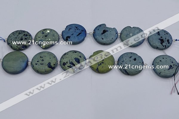 CDQ679 8 inches 30mm flat round druzy quartz beads wholesale